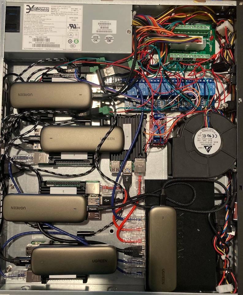 A low power 1U Raspberry Pi cluster server