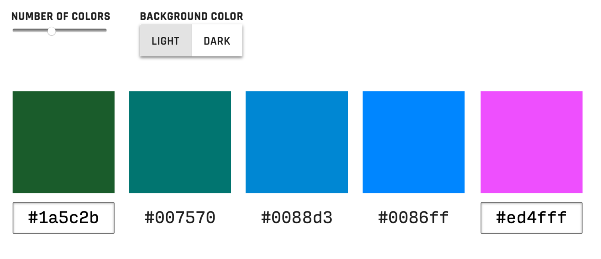 A color palette generator for the design 'impaired'