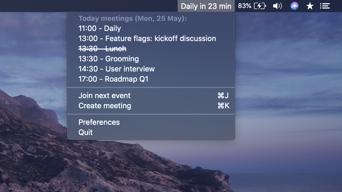MeetingBar is a macOS menu bar app for your meetings