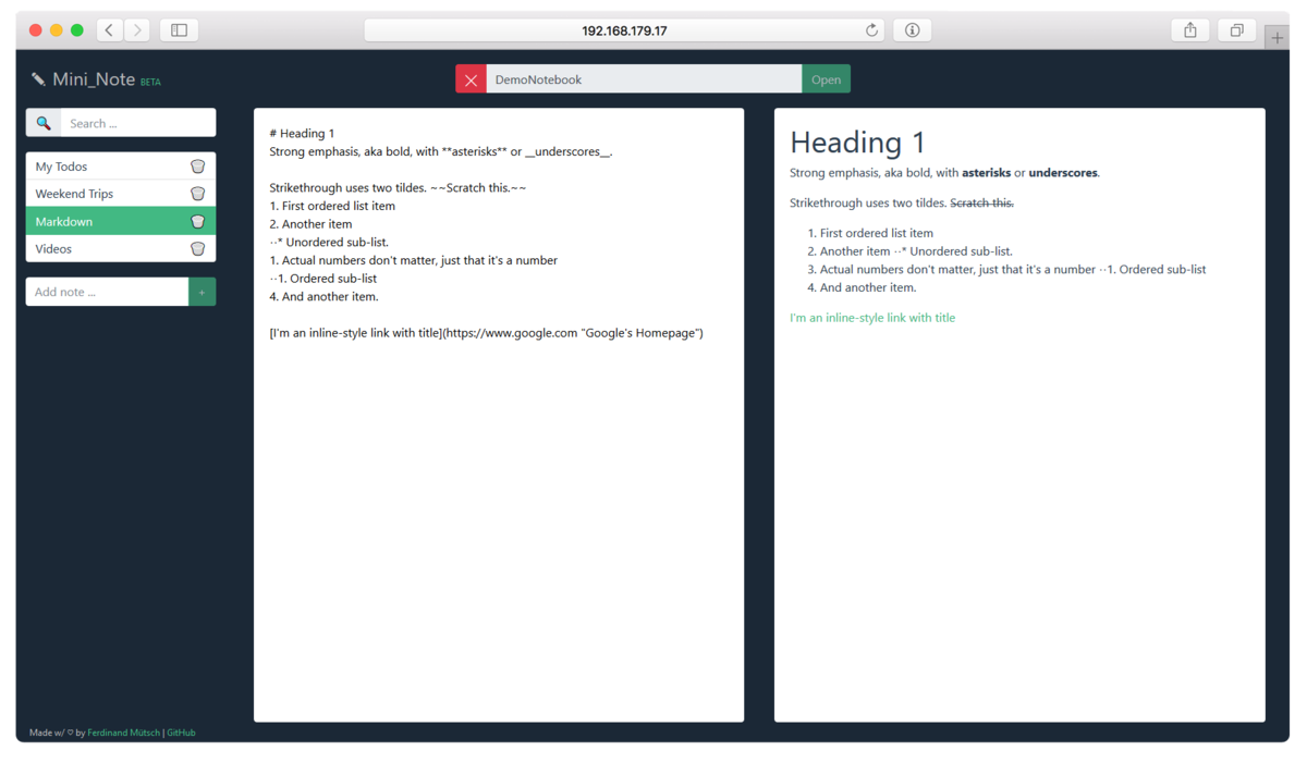A simple Markdown note-taking editor