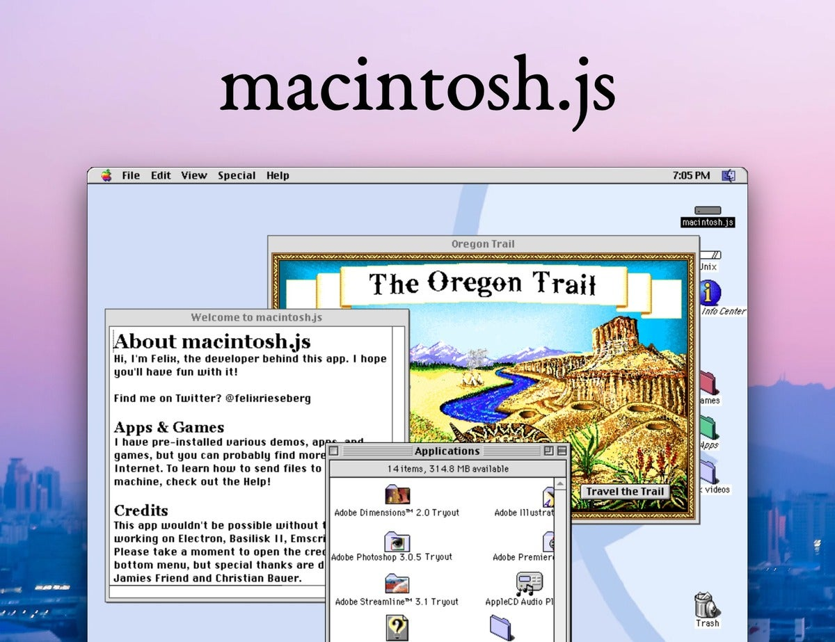 A virtual Apple Macintosh with System 8 (running in Electron)