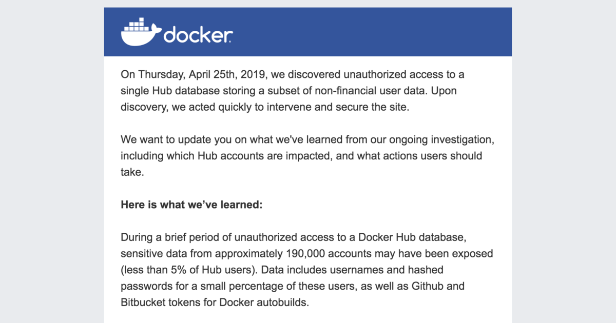 Docker Hub has been hacked