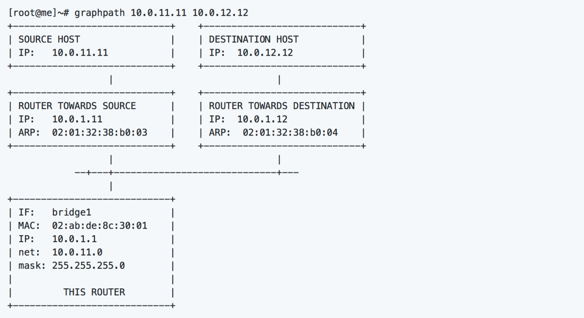 Generate an ASCII network diagram from the route table of a Unix/Linux