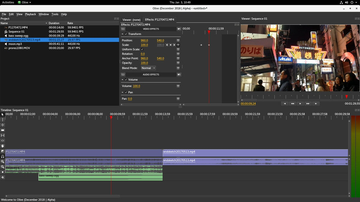 Olive is a free non-linear video editor for Windows, macOS, and Linux
