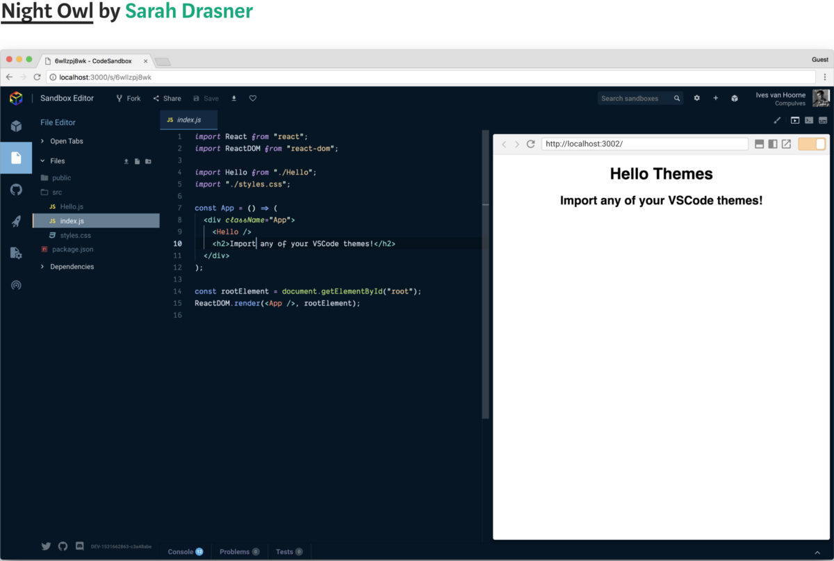 VSCode themes in CodeSandbox?