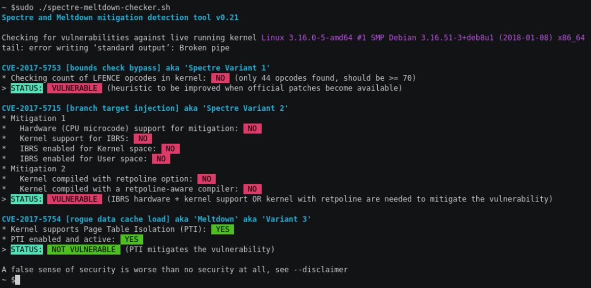 Spectre & Meltdown Checker (Linux)