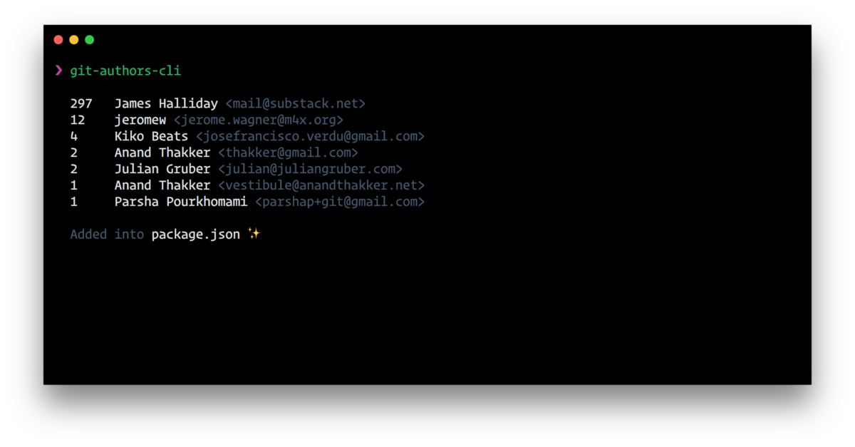 Detect your project contributors and auto-add them to your `package.json`