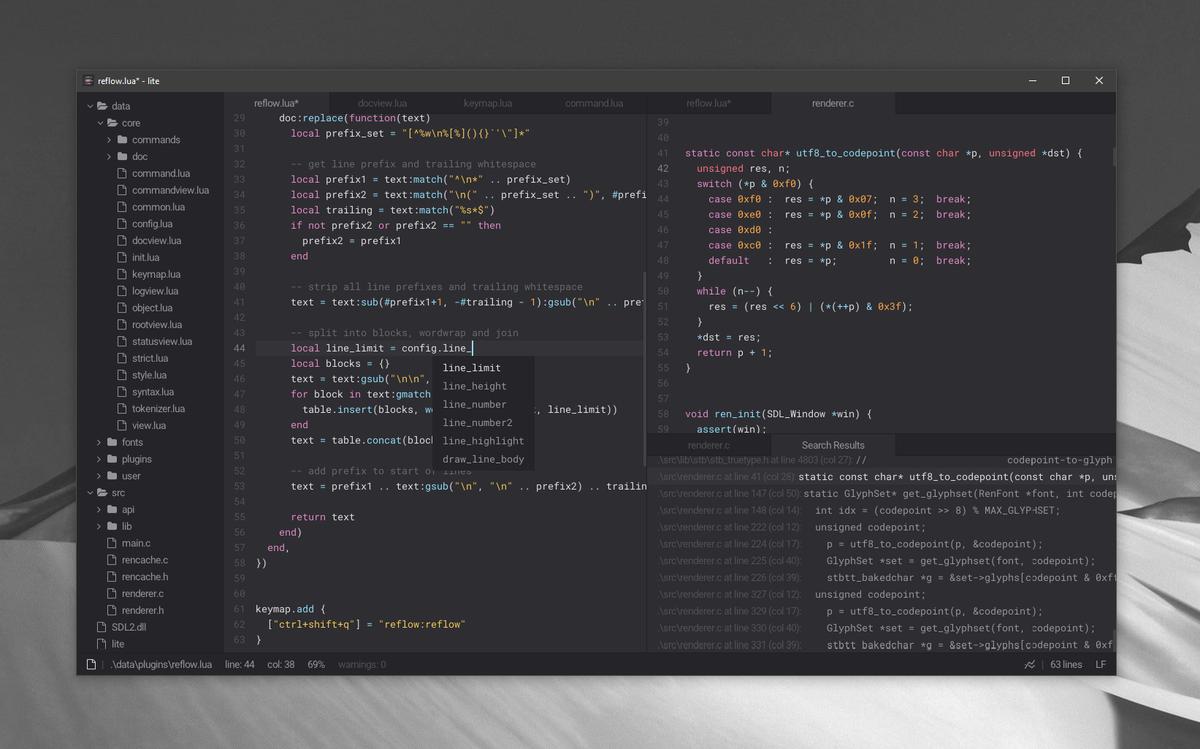 A lightweight text editor written in lua