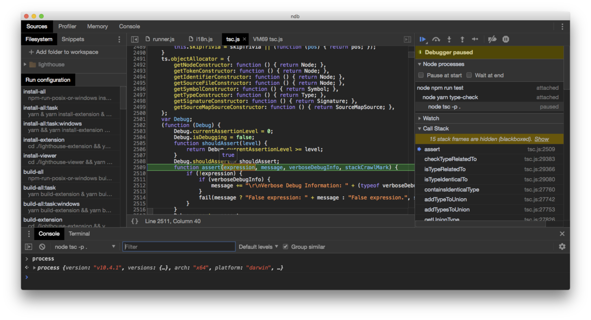 An improved debugging experience for Node, enabled by Chrome DevTools