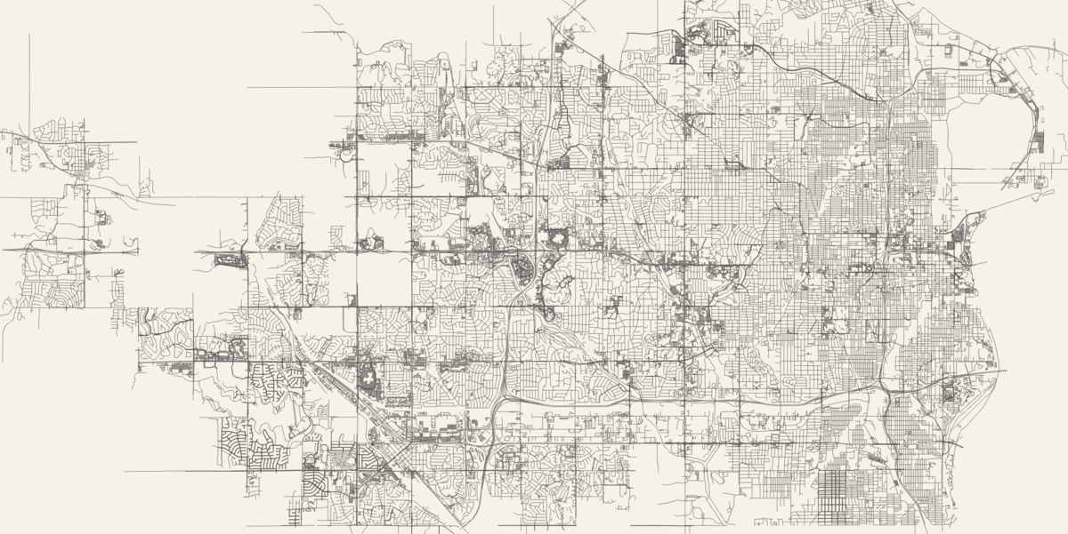 A visualization of all roads within any city