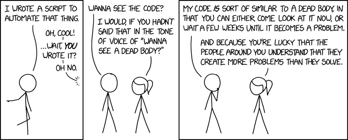 """My code is sort of similar to a dead body"""