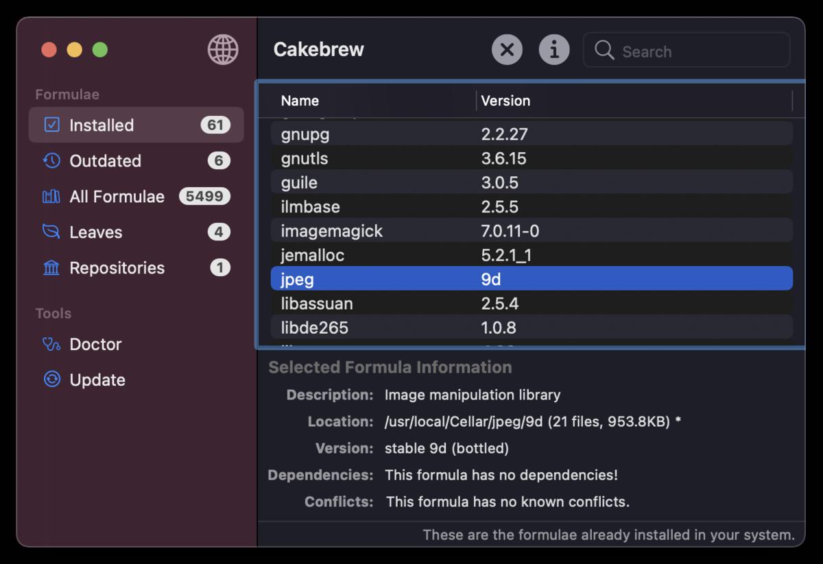 Cakebrew - macOS app for Homebrew