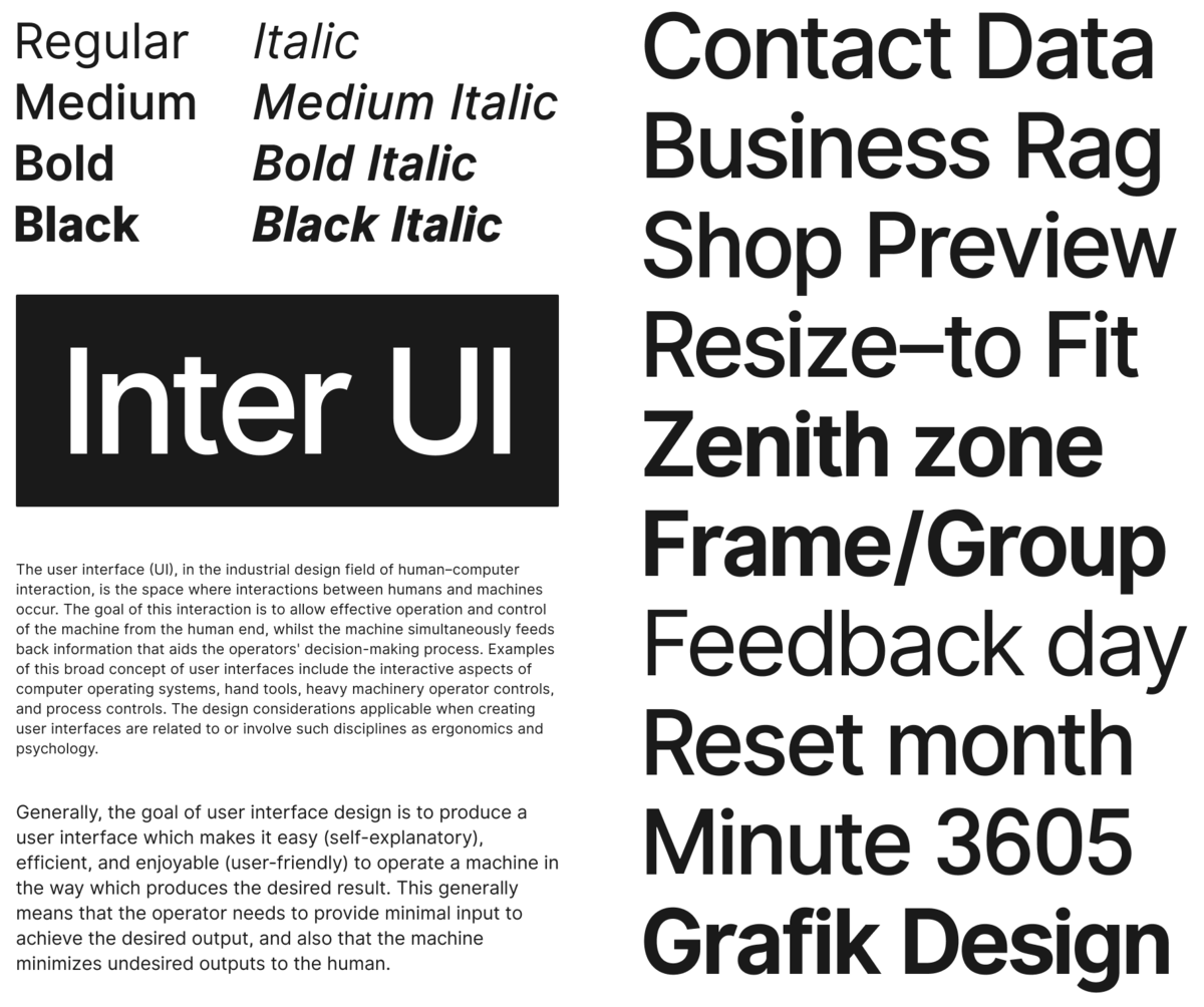 "The Inter UI font family is ""use me at all sizes"" beautiful"