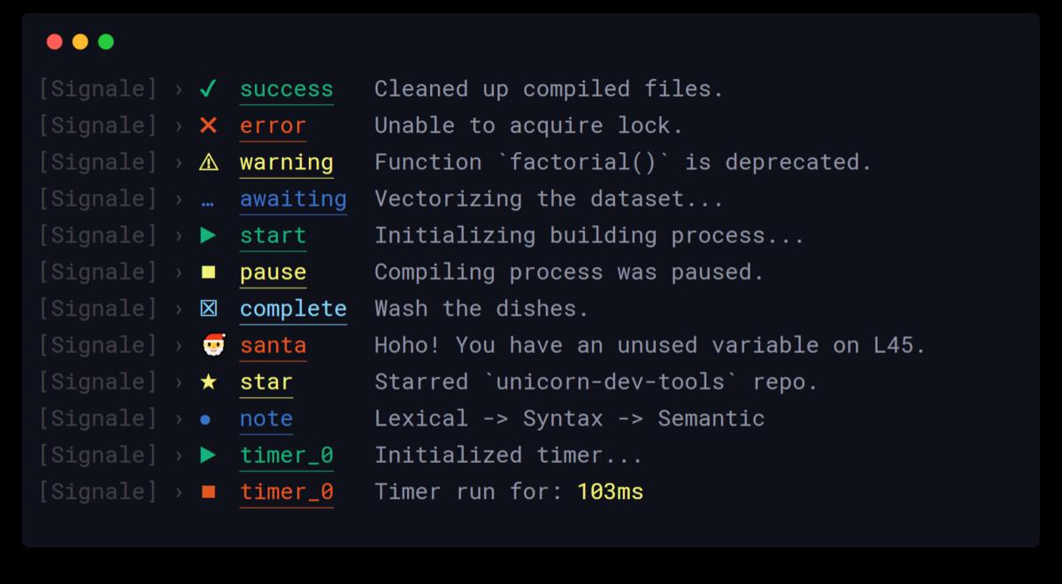 Signale – a hackable console logger