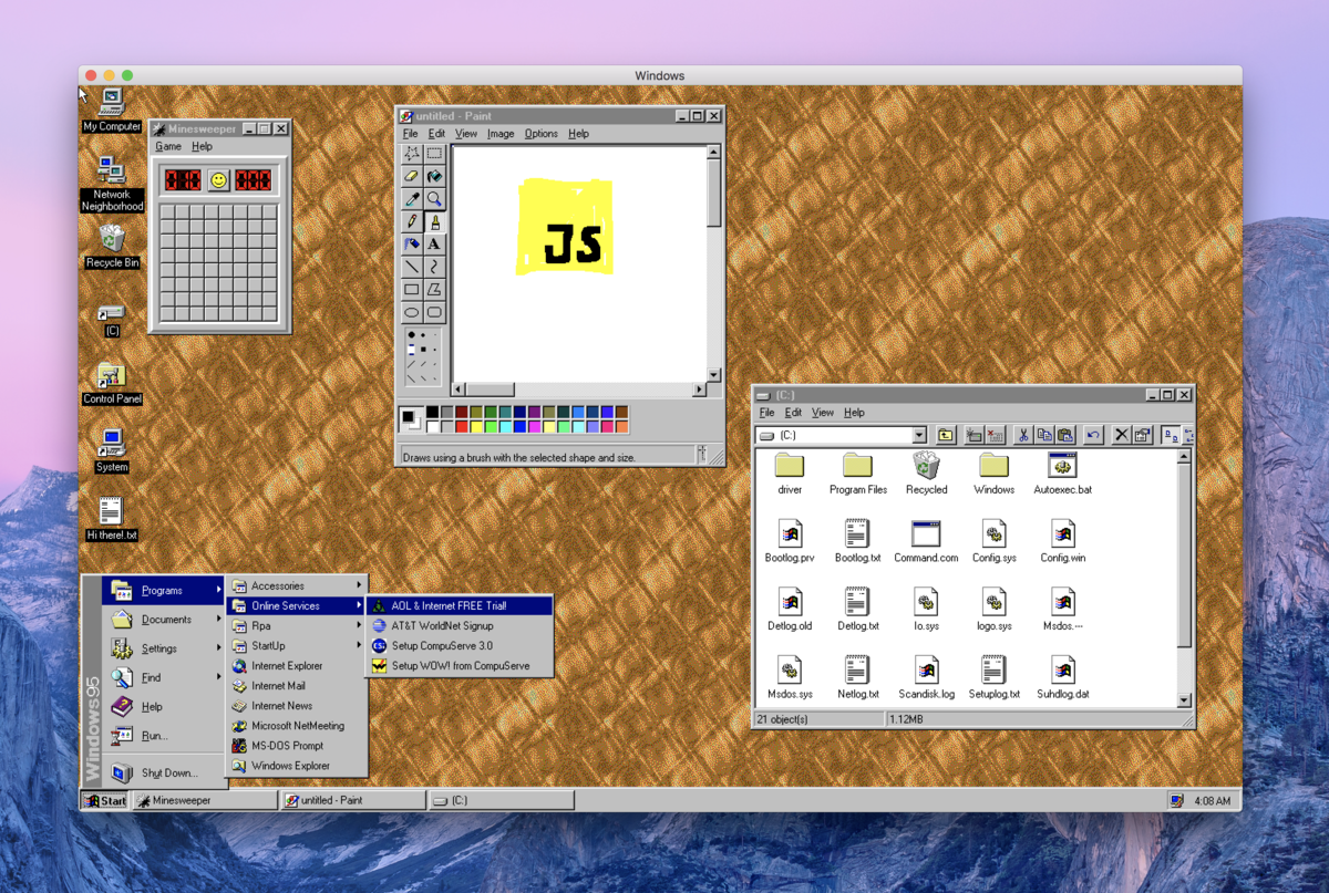 This is Windows 95, running in an Electron app