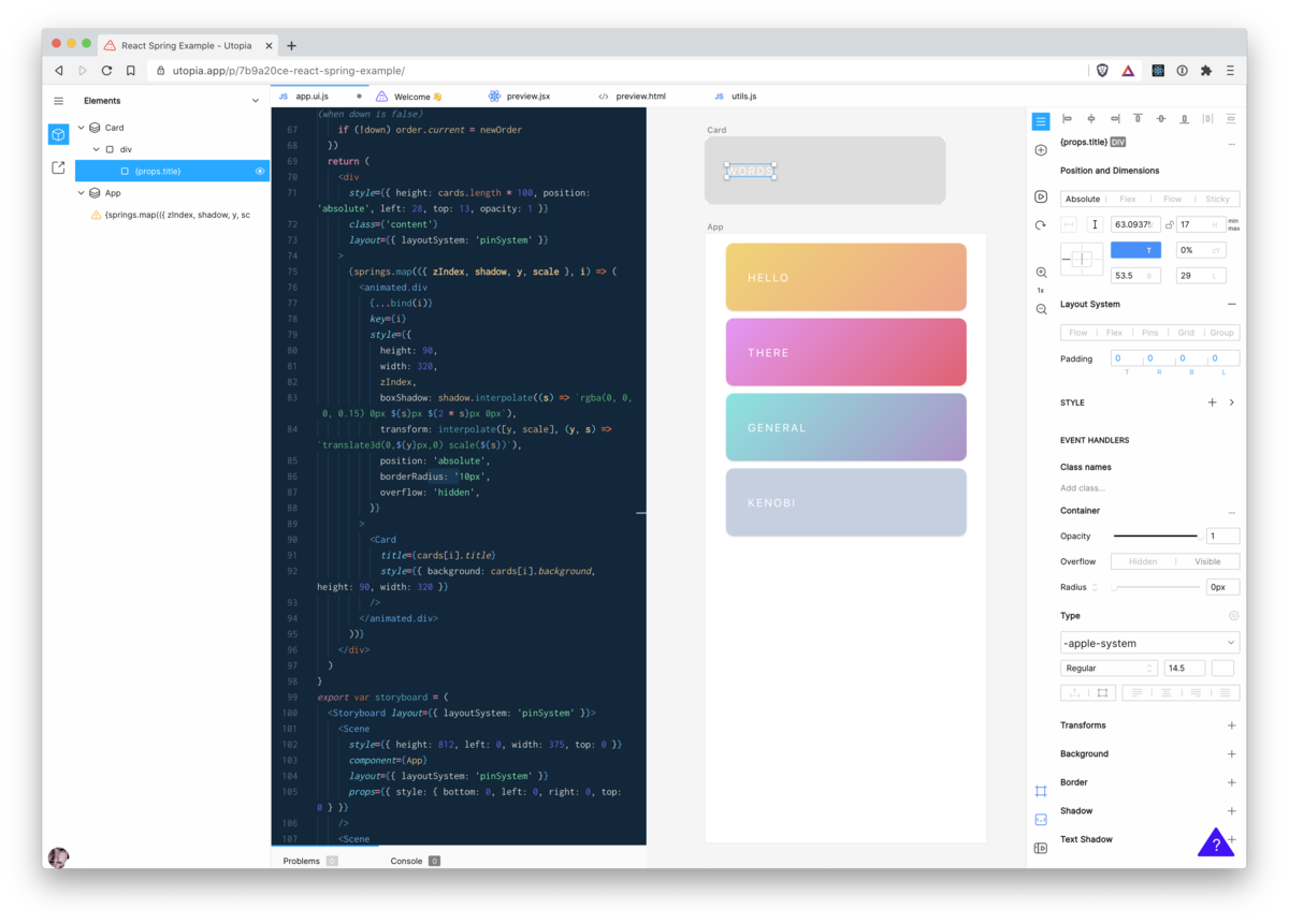 An integrated design and development environment for React