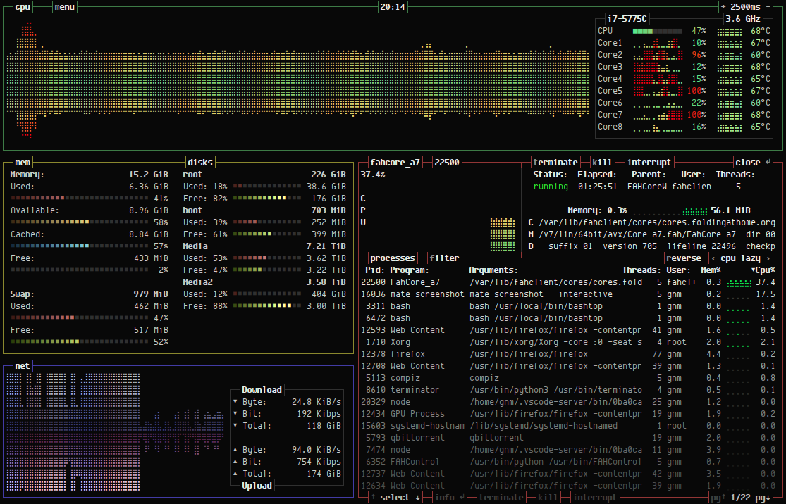 A pure-bash Linux resource monitor