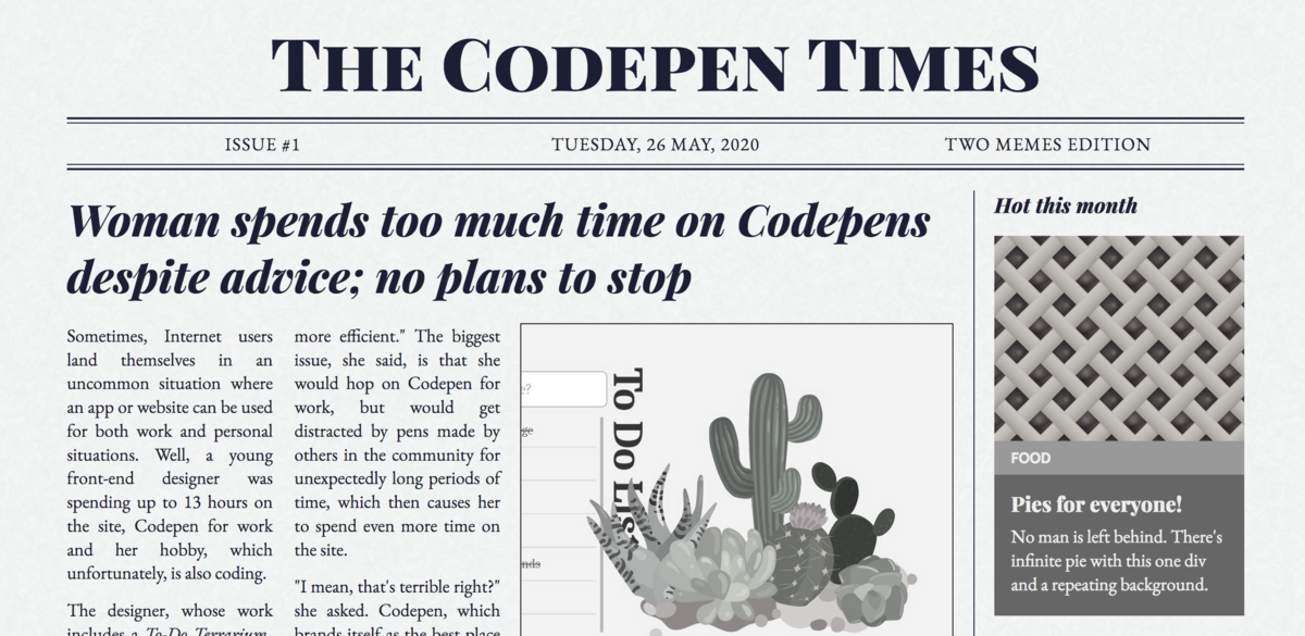 CSS Grid example of a responsive newspaper layout