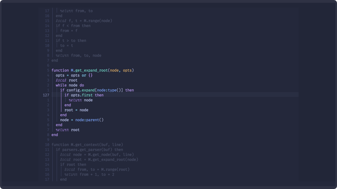 Twilight is a plugin for Neovim that dims inactive portions of code
