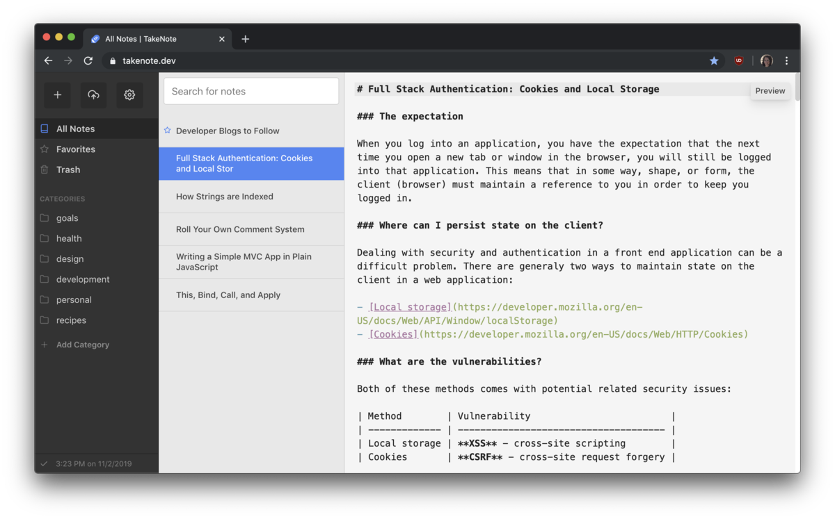 A web-based note-taking app with GitHub sync and Markdown support