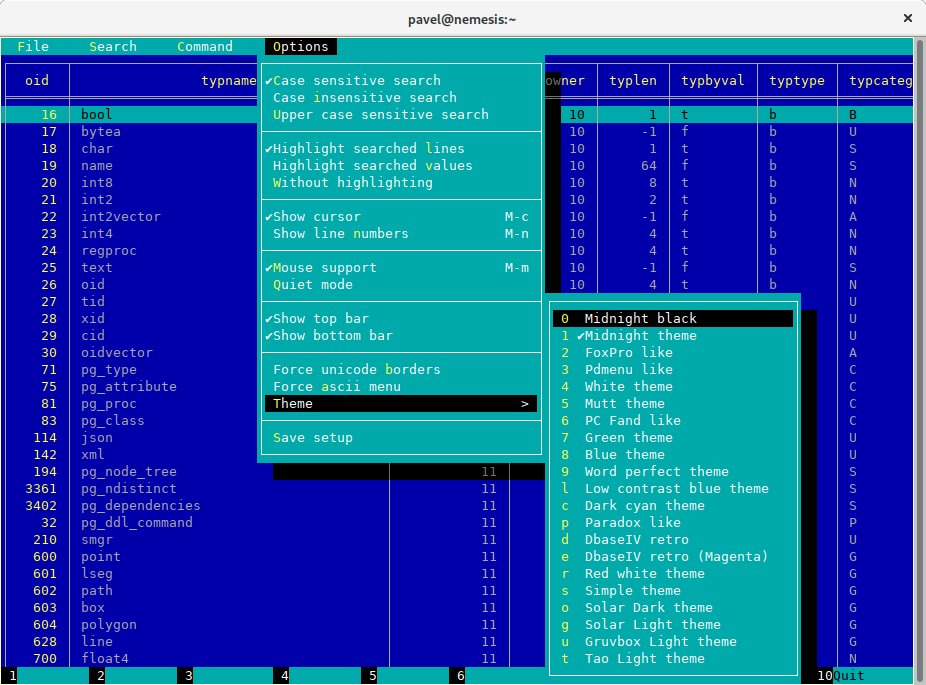 A Unix pager designed for working with tables (Postgres, MySQL, etc.)