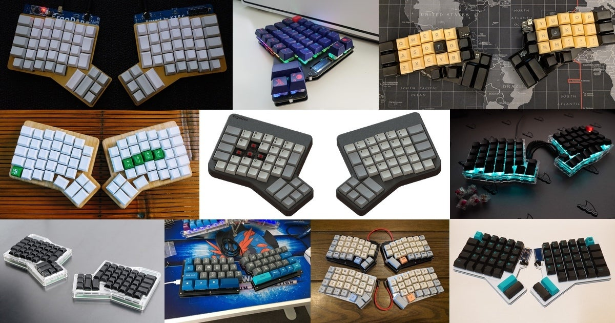 A collection of ergonomic split keyboards