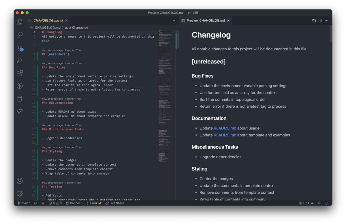 Generate a changelog from your conventional git commits