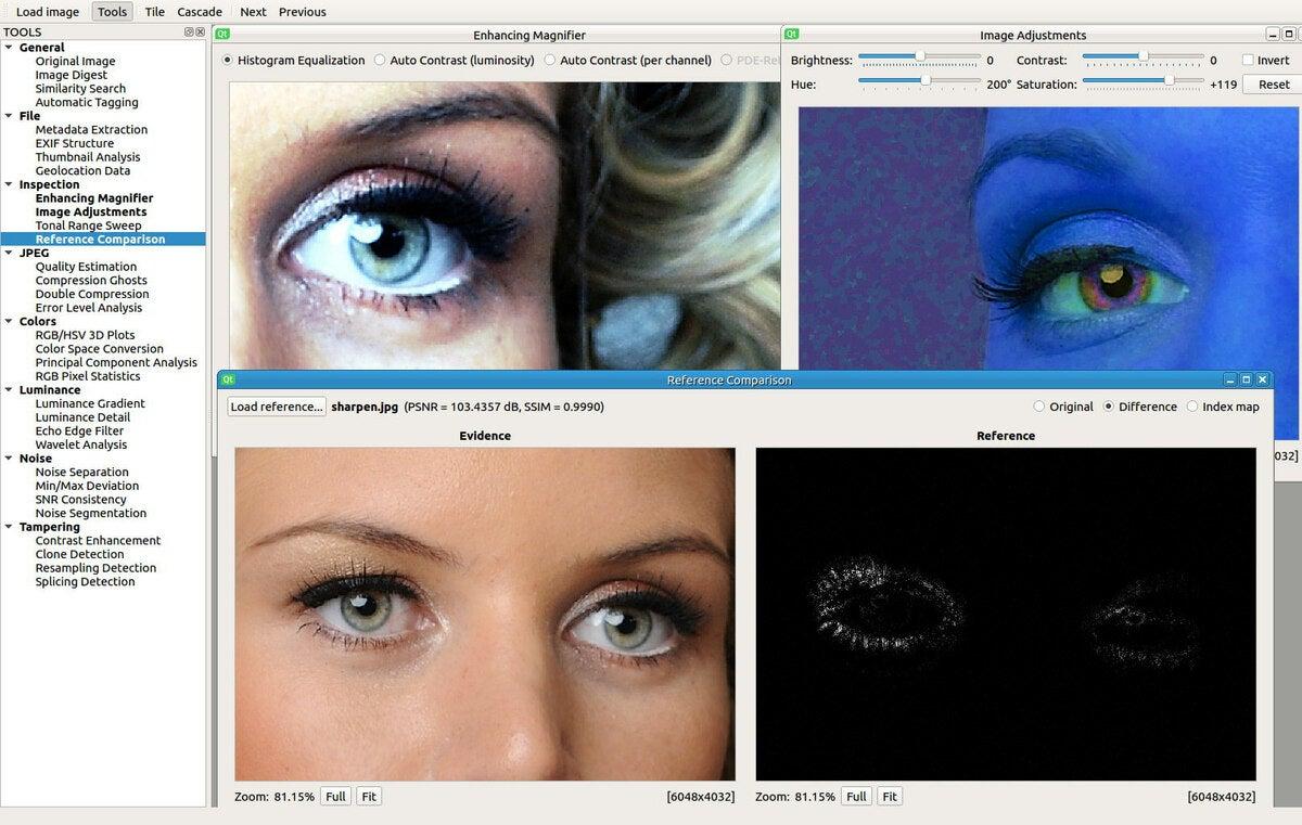 A digital image forensic toolset
