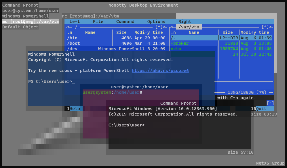 A text-based desktop environment in your terminal