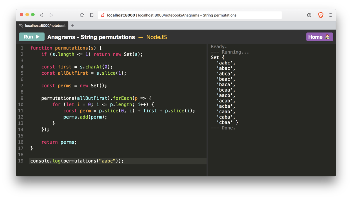 Nodebook is an in-browser REPL supporting many languages