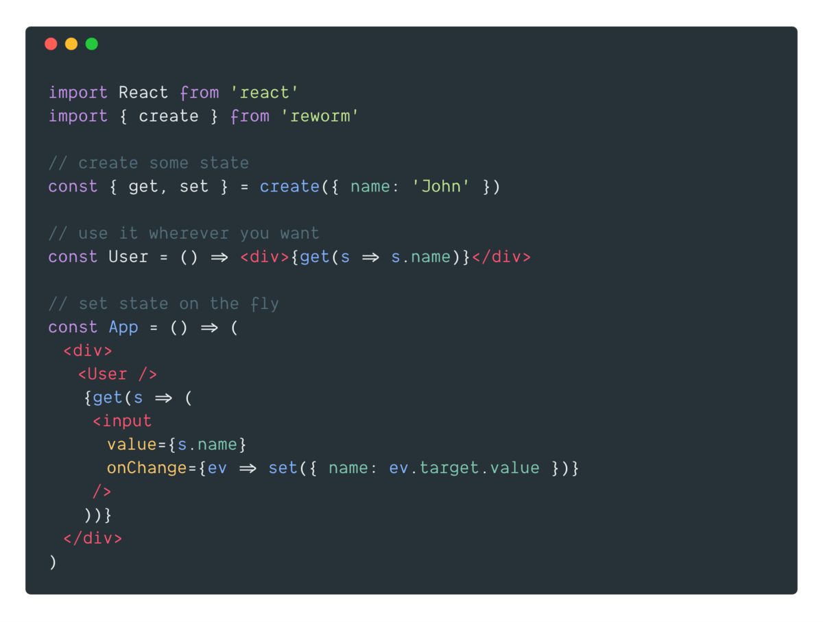 Reworm –the simplest way to manage your React app's state