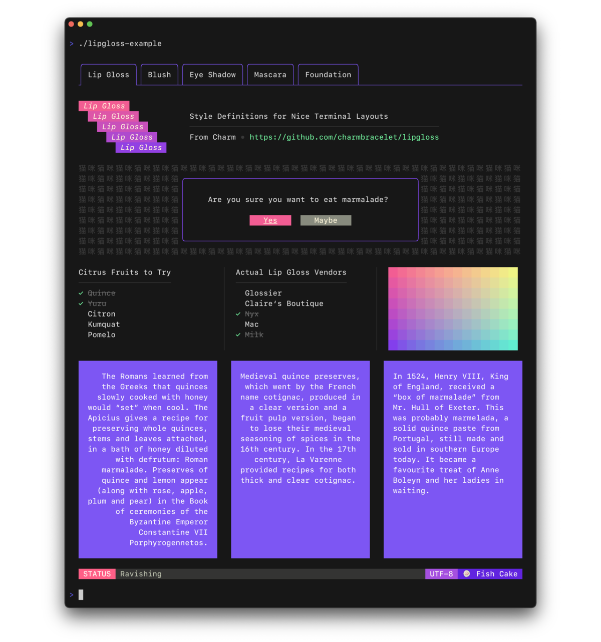 Lip Gloss – style definitions for nice terminal layouts